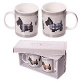 Porselein Mokken Gift Set - Scottie Hond - 2 Mokken