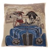 In The Mood Napoleon Hond in auto - Sierkussen - Blauw - 45x45 cm